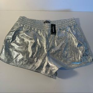 Shiny silver express shorts elastic waist Nwt